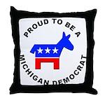 Michigan Democrat Pride Throw Pillow