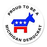 Michigan Democrat Pride Round Car Magnet