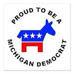 Michigan Democrat Pride Square Car Magnet 3