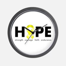 Yellow Ribbon Hope Wall Clock