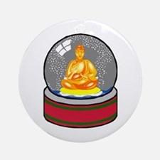 Meditating Buddha in a Snow Globe Ornament (Round)