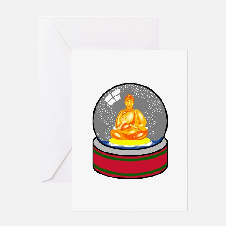 Meditating Buddha in a Snow Globe Greeting Card