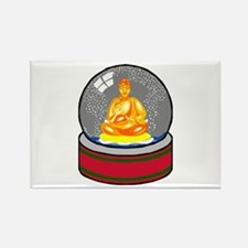 Meditating Buddha in a Snow Globe Rectangle Magnet