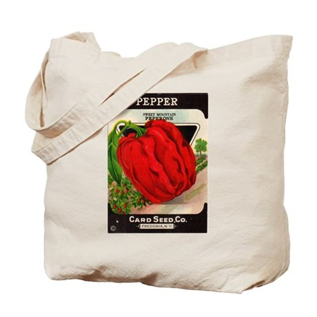 Antique Seed Packet Art Red Pepper Tote Bag