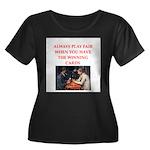 card game Women's Plus Size Scoop Neck Dark T-Shir