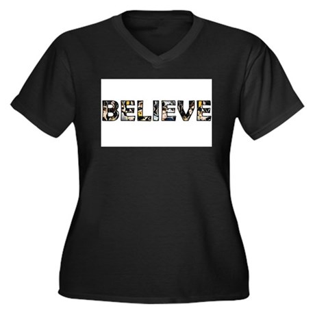 Believe Women's Plus Size V-Neck Dark T-Shirt