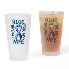 I Wear Blue for my Wife.png Drinking Glass