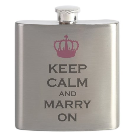 Keep Calm and Marry On Carry On Pink Crown Flask