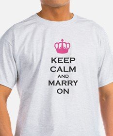 Keep Calm and Marry On Carry On Pink Crown T-Shirt