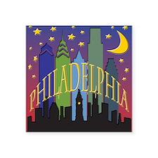 "Philly Skyline rainbow Square Sticker 3"" x 3"""