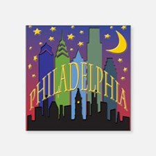 "Philly Skyline rainbow Square Sticker 3"" x 3"""