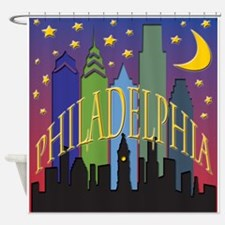 Philly Skyline rainbow Shower Curtain