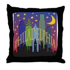 Philly Skyline rainbow Throw Pillow