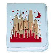 Philly skyline hot baby blanket