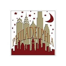 "Philly skyline hot Square Sticker 3"" x 3"""