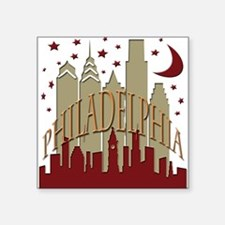 "Philly skyline hot Square Sticker 3"" x 3"""