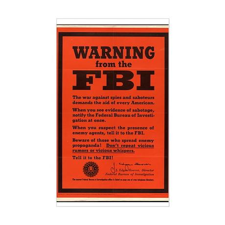 WWII POSTER WARNING FROM THE FBI Sticker (Rectangu