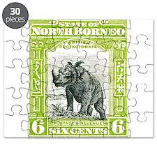 North Borneo Sumatran Rhinoceros Stamp 1909 Puzzle