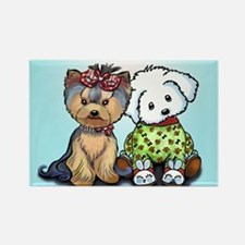 Yorkie and maltese Rectangle Magnet