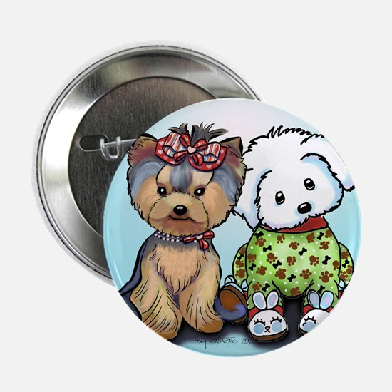 "Yorkie and maltese 2.25"" Button"