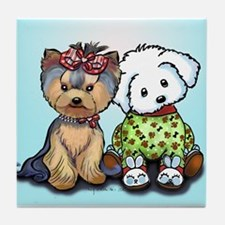 Yorkie and maltese Tile Coaster
