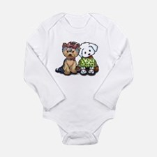 Yorkie and Maltese Long Sleeve Infant Bodysuit