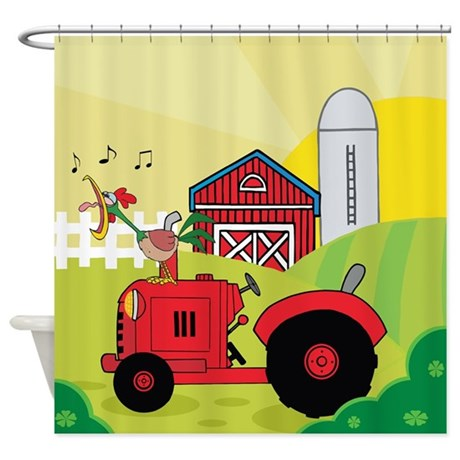 Red Tractor on Farm Shower Curtain