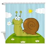 Cute Cartoon Snail Design Shower Curtain