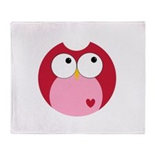Pink and Red Owl With Heart Throw Blanket