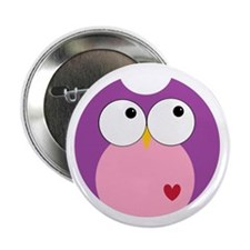 """Purple and Pink Owl 2.25"""" Button"""
