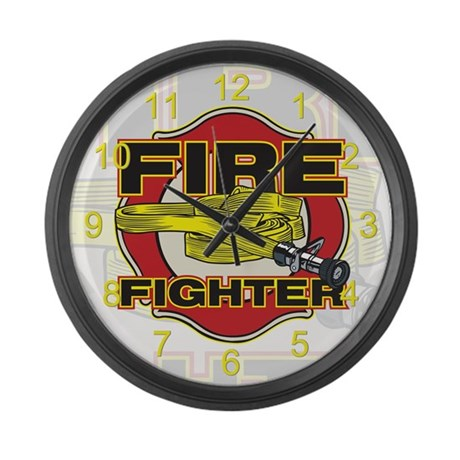 Firefighter Hose and Shield Large Wall Clock