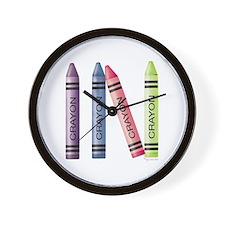 Four Crayons Wall Clock