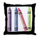 Four Crayons Throw Pillow