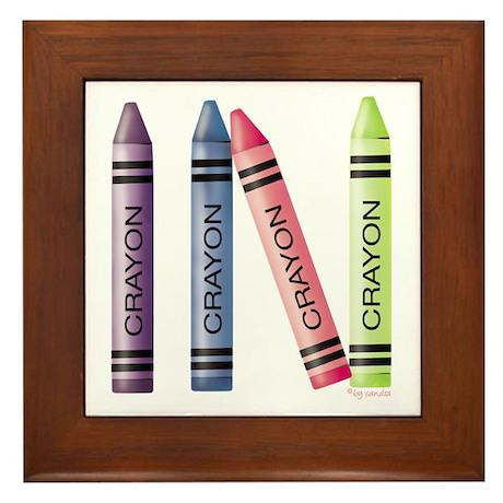 Four Crayons Framed Tile