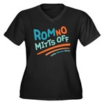 RomNO Mitts Off Women's Plus Size V-Neck Dark T-Sh