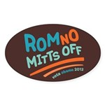 RomNO Mitts Off Sticker (Oval)