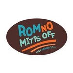 RomNO Mitts Off Oval Car Magnet