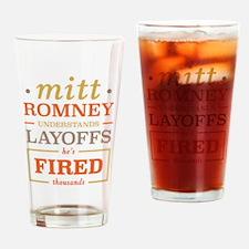 Romney Layoffs Drinking Glass