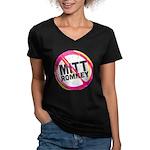 Anti Romney Women's V-Neck Dark T-Shirt