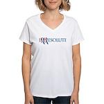 Romney Parody Irresolute Women's V-Neck T-Shirt