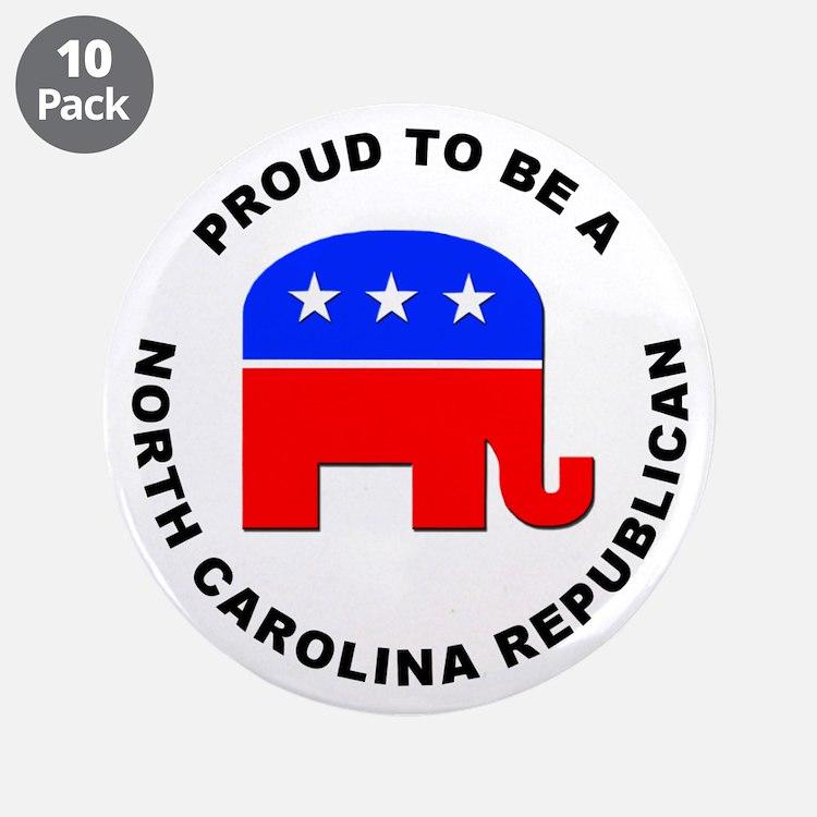 """North Carolina Republican Pride 3.5"""" Button (10 pa"""