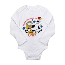 Cow Over Moon 1st Birthday Long Sleeve Infant Body