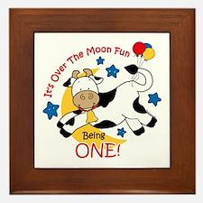 Cow Over Moon 1st Birthday Framed Tile