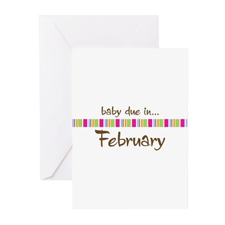 Baby Due in February Greeting Cards (Pk of 10)