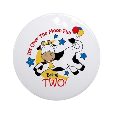 Cow Over Moon 2nd Birthday Ornament (Round)