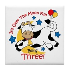 Cow Over Moon 3rd Birthday Tile Coaster