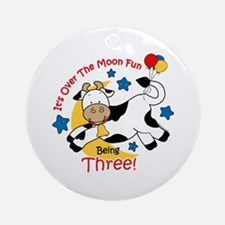Cow Over Moon 3rd Birthday Ornament (Round)
