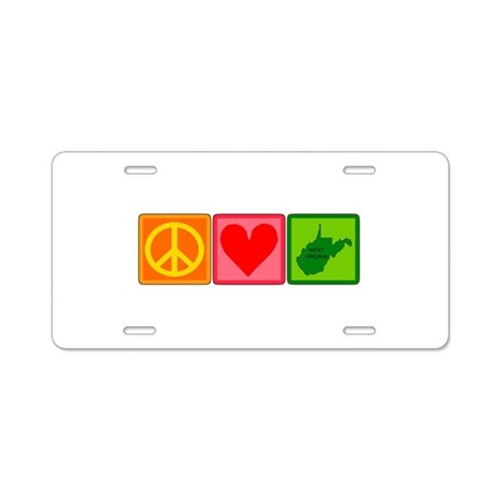 Peace Love West Virginia Aluminum License Plate