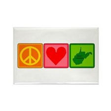 Peace Love West Virginia Rectangle Magnet