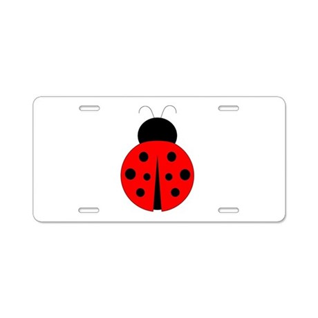 Red and Black Ladybug Aluminum License Plate